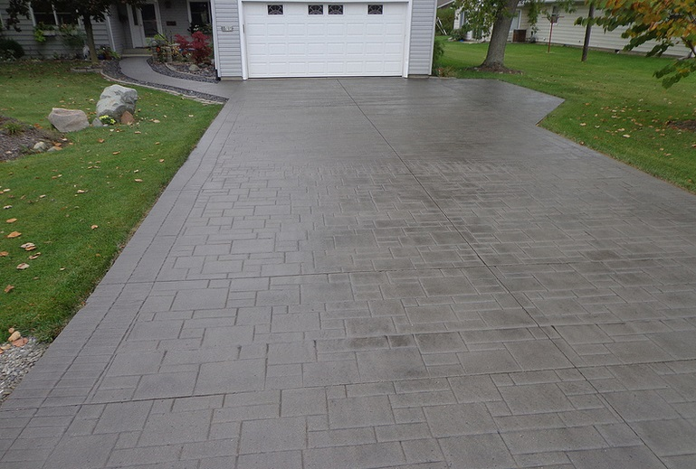 concrete driveway stamped