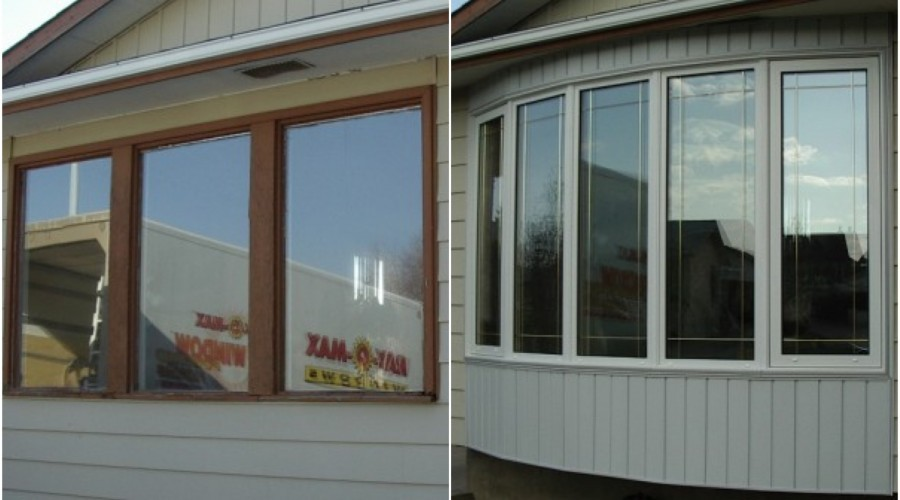 Window replacement before and after.