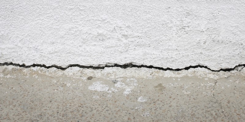 concrete wall with a crack in foundation