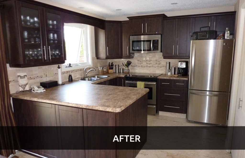 Cabinet refacing saves money on kitchen renovations for Kitchen cabinets calgary
