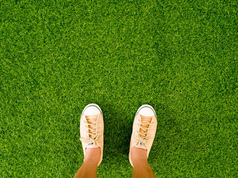 Woman feet wear vintage soft brown sneaker shoes stand on green grass floor.