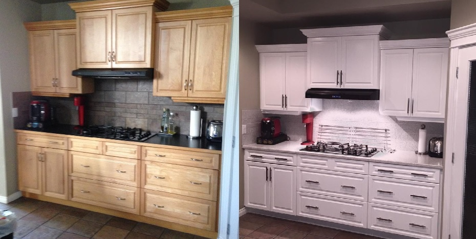 Cabinet refinishing affordable kitchen reno renovationfind for Best way to refinish oak kitchen cabinets